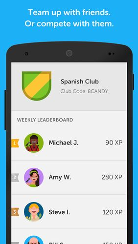 Les captures d'écran du programme Duolingo: Learn languages free pour le portable ou la tablette Android.