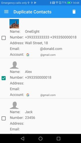 Screenshots of Duplicate contacts program for Android phone or tablet.