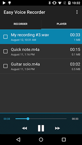 Les captures d'écran du programme Easy voice recorder pro pour le portable ou la tablette Android.