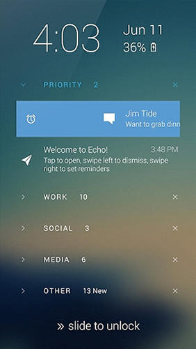 Les captures d'écran du programme Echo lockscreen pour le portable ou la tablette Android.