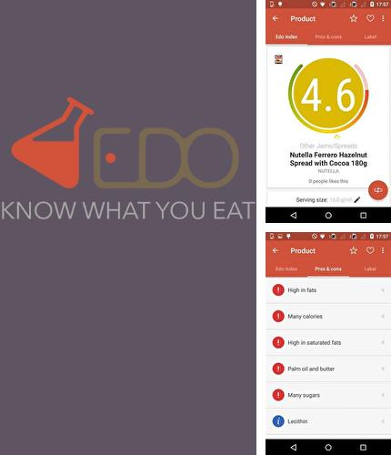 Outre le programme Text Drive: No Texting While Driving pour Android vous pouvez gratuitement télécharger Edo - Know what you eat sur le portable ou la tablette Android.