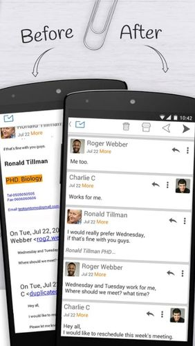 Les captures d'écran du programme Email exchange + by MailWise pour le portable ou la tablette Android.