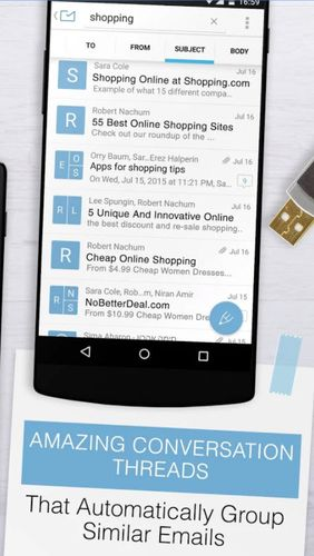Screenshots of Email exchange + by MailWise program for Android phone or tablet.