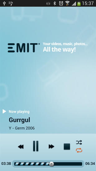 Screenshots of Emit: Streaming program for Android phone or tablet.