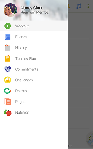Screenshots of Endomondo program for Android phone or tablet.