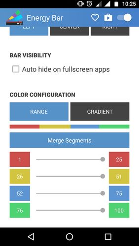 Screenshots of Energy bar - A pulsating battery indicator program for Android phone or tablet.
