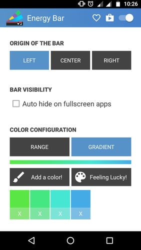 Screenshots des Programms Energy bar - A pulsating battery indicator für Android-Smartphones oder Tablets.