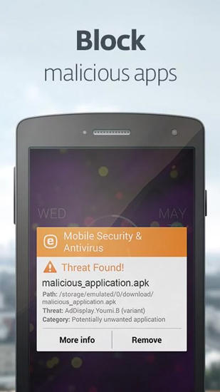 Screenshots of ESET: Mobile Security program for Android phone or tablet.