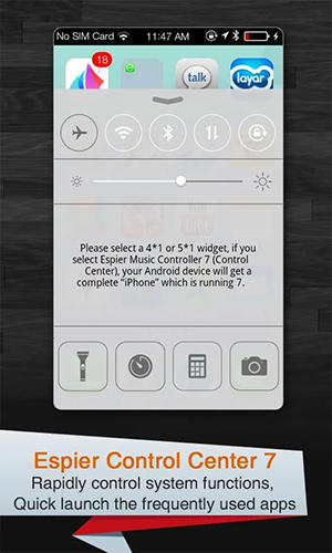 Espier control center iOs7 app for Android, download programs for phones and tablets for free.