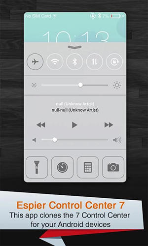 Screenshots of Espier control center iOs7 program for Android phone or tablet.