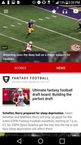 ESPN app for Android, download programs for phones and tablets for free.