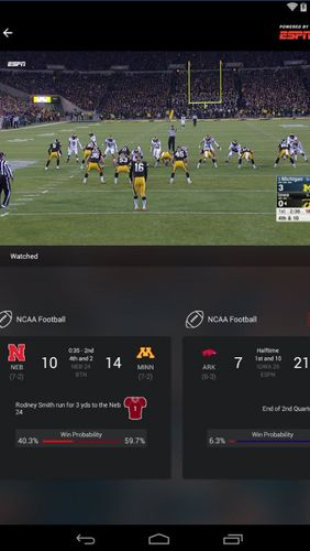 Screenshots of ESPN program for Android phone or tablet.