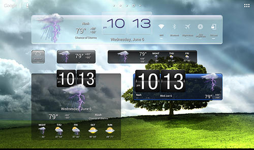 Capturas de tela do programa eWeather HD em celular ou tablete Android.