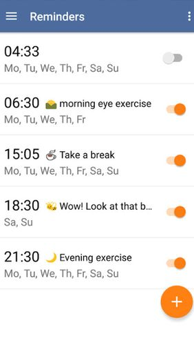 Screenshots des Programms Eye exercises für Android-Smartphones oder Tablets.