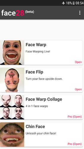 Screenshots des Programms Face28 - Face changer video für Android-Smartphones oder Tablets.