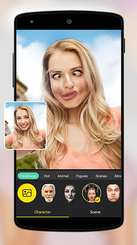 Screenshots of Face swap program for Android phone or tablet.
