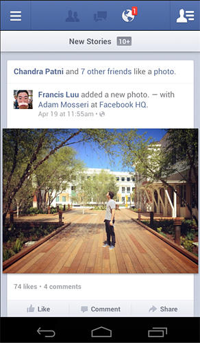 Screenshots of Facebook program for Android phone or tablet.