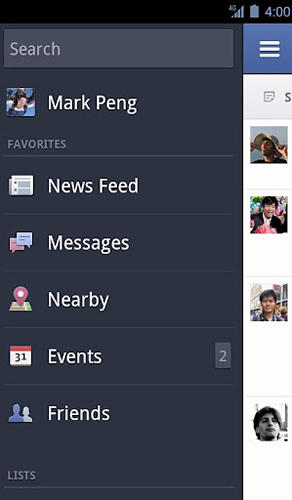 Capturas de tela do programa Facebook em celular ou tablete Android.