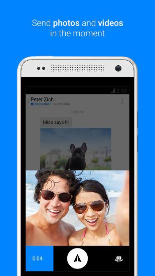 Screenshots of Facebook Messenger program for Android phone or tablet.