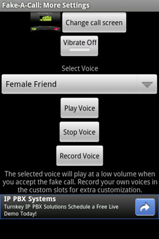 Screenshots of Fake a call program for Android phone or tablet.