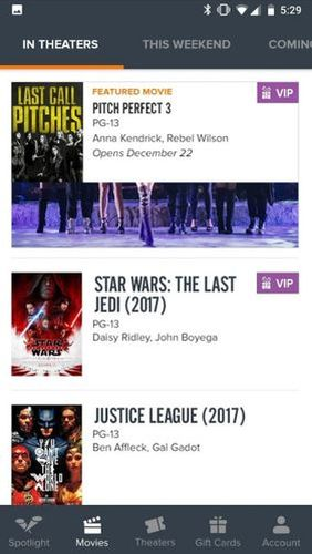 Fandango: Movies times + tickets app for Android, download programs for phones and tablets for free.