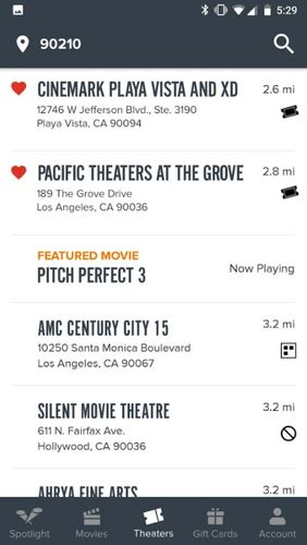Les captures d'écran du programme Fandango: Movies times + tickets pour le portable ou la tablette Android.