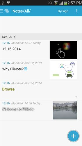 Screenshots of FiiNote: Note everything program for Android phone or tablet.