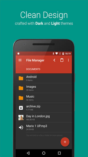 Screenshots des Programms File Manager für Android-Smartphones oder Tablets.