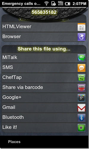 Screenshots of File slick program for Android phone or tablet.