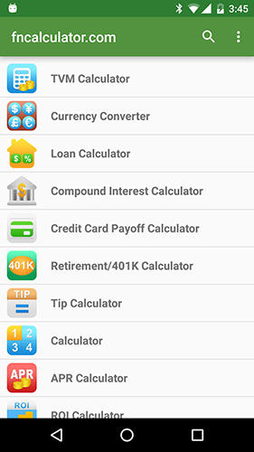 Screenshots of Financial Calculators program for Android phone or tablet.