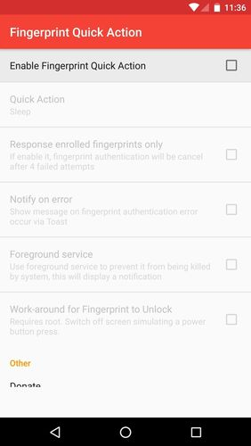 Screenshots of Fingerprint quick action program for Android phone or tablet.