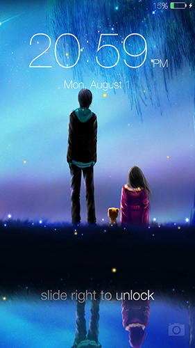 Capturas de tela do programa Fireflies: Lockscreen em celular ou tablete Android.