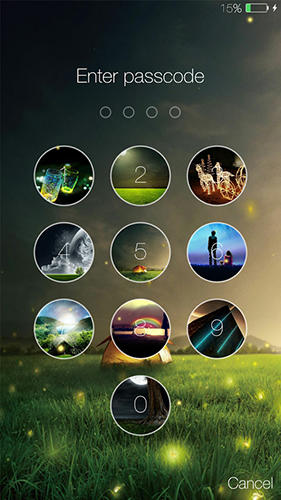 Screenshots des Programms Fireflies: Lockscreen für Android-Smartphones oder Tablets.