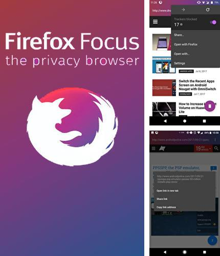 Besides Genius: Song and Lyrics Android program you can download Firefox focus: The privacy browser for Android phone or tablet for free.