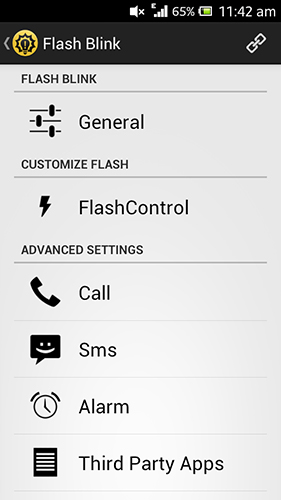 Screenshots of Flash blink program for Android phone or tablet.
