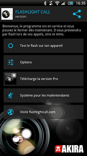 Screenshots of Flashlight call program for Android phone or tablet.