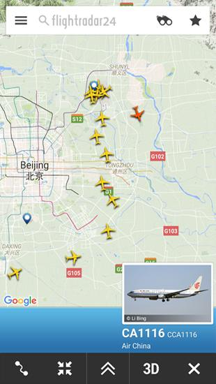 Screenshots of Flightradar 24 program for Android phone or tablet.