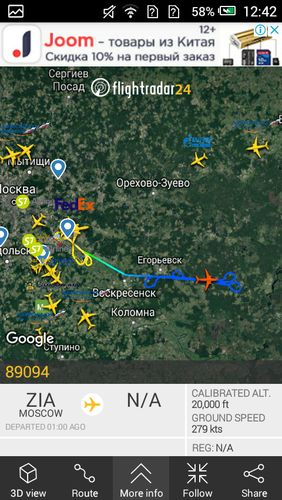 Capturas de tela do programa Flightradar24 - Flight tracker em celular ou tablete Android.