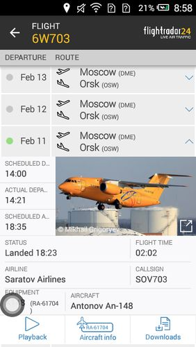 Les captures d'écran du programme Flightradar24 - Flight tracker pour le portable ou la tablette Android.