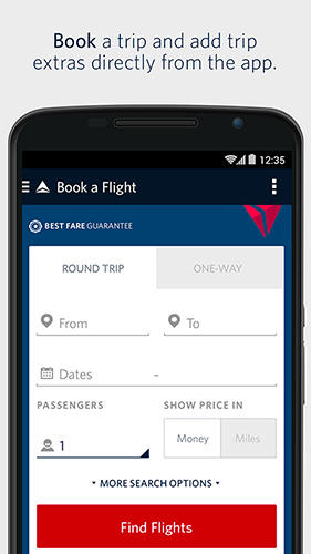 Screenshots of Fly delta program for Android phone or tablet.