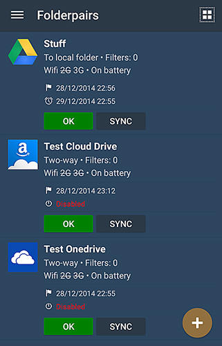 Screenshots of Folder sync program for Android phone or tablet.