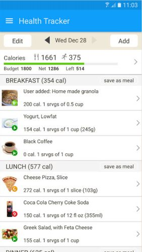 Capturas de tela do programa Fooducate: Healthy weight loss & calorie counter em celular ou tablete Android.
