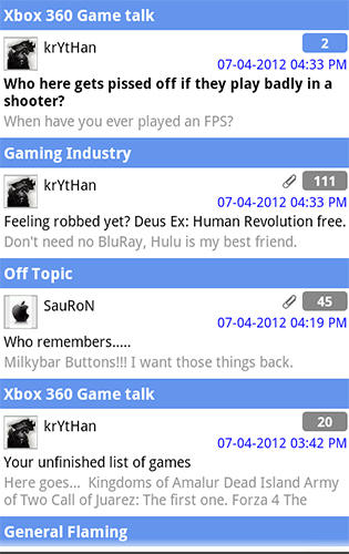 Screenshots of Forum runner program for Android phone or tablet.