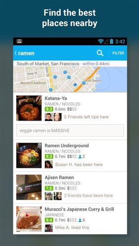 Capturas de tela do programa Foursquare em celular ou tablete Android.
