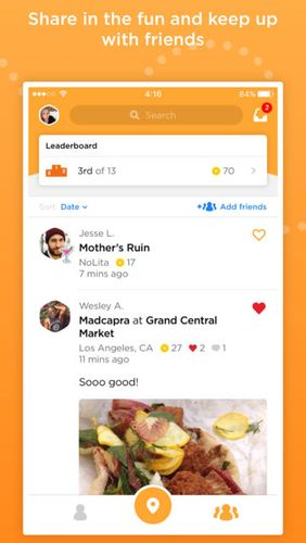 Les captures d'écran du programme Foursquare Swarm: Check In pour le portable ou la tablette Android.