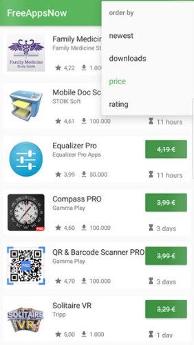Screenshots of FreeAppsNow program for Android phone or tablet.