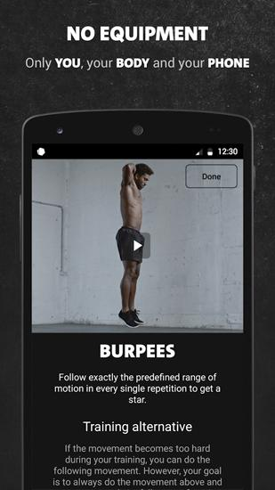 Скріншот програми Freeletics Bodyweight на Андроїд телефон або планшет.