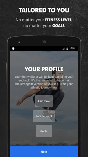 Les captures d'écran du programme Freeletics Bodyweight pour le portable ou la tablette Android.