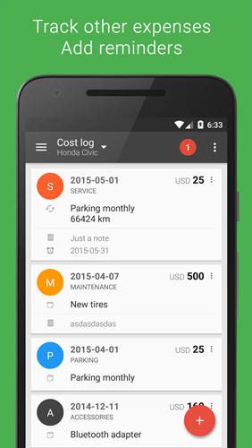 Screenshots of Fuelio: Gas and Costs program for Android phone or tablet.