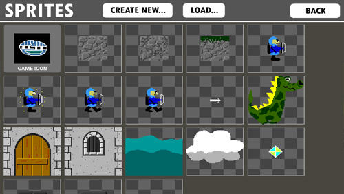 Screenshots of Game Creator program for Android phone or tablet.